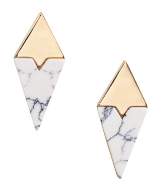 All marble everything. A geometric shape adds an interesting touch to any look. Love these from H&M,http://www.hm.com/us/product/49071?article=49071-A