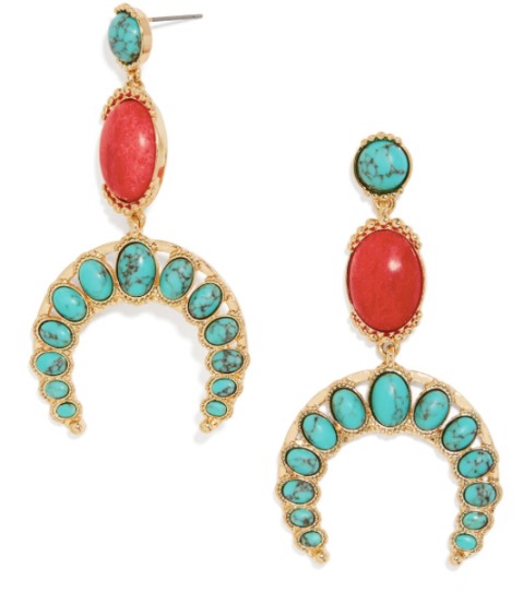 A touch of turquoise is perfect with a simple tee. Baublebar,https://www.baublebar.com/product/28040-cresseida-drops-earrings-turquoise.html